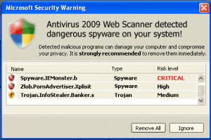 Antivirus 2009 Web Scanner has detected dangerous spyware on your system!