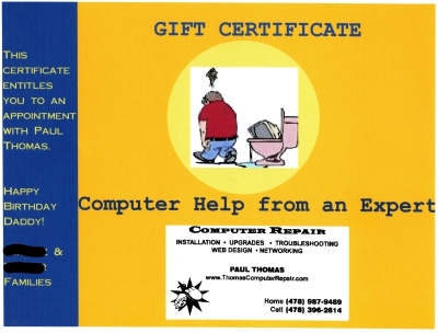 Gift certificate for Paul Thomas Computer Repair services